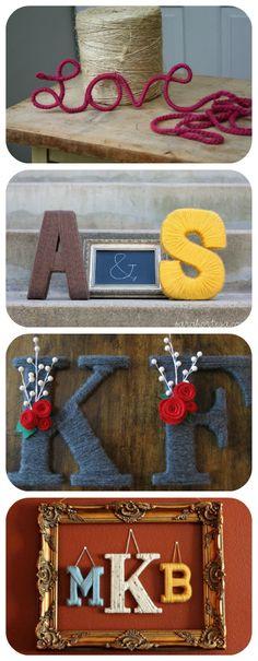 "50 Beautiful Yarn Craft Tutorials {yarn wreaths, pom poms, decor} it's not crochet but it is yarn, so....I really like the ""K & F"" letters."