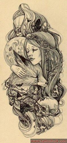 fantastik kız ve tilki fox dövme modelleri dövme desenleri tattoo desing