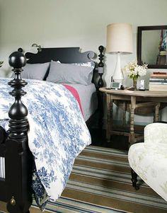 Ethan Allen Quincy bed, Dash + Albert rug | Newell Turner's master bedroom