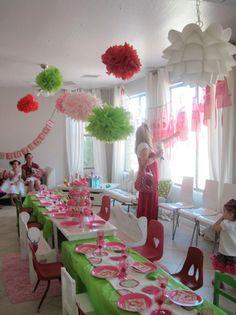 Strawberry Shortcake party ideas - Pom poms