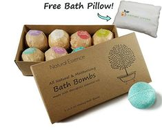 #Natural #Essence #Bath #Bombs with #FREE #PILLOW #Gift #Set of #8 (2.5oz) by My #Comfort #Living. #Aromatherapy, #Essential #Oils - #Handmade (best #lush #fizzies for her #teen #girl #mothers #day #bubble balls) #FREE #BATH #PILLOW - Every #set comes with a #free #bath #pillow that makes every #bath a wonderful experience. AMAZING #AROMATHERAPY - Our #aromatherapy combinations of RESTORE, INVIGORATE, CLARITY, STRENGTH, DETOX, RELAX, FOCUS, AND REJUVENATE bring out the best i