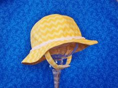 Yellow Chevron Baby Sunhat with Lace and Chin Straps by AdorableandCute on Etsy