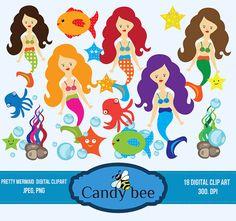 Cute Little Mermaid Clipart, Sea Creatures, Sea animals clip art, ocean clipart, octopus, squid, fish clipart - SAJ-238