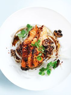 ginger chilli salmon with noodles