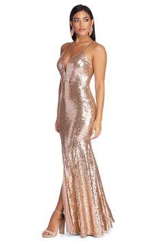 plunging v neckline, rose gold, sparkly bridesmaid dresses, nude sandals, black long hair Rose Gold Sequin Dress, Glitter Dress, Metallic Dress, Rose Gold Long Dress, Sparkly Bridesmaid Dress, Vintage Bridesmaid Dresses, Sparkly Dresses, Prom Dresses, Evening Dresses