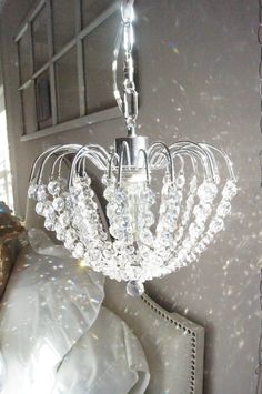 Bedroom on a budget- Chandelier pendant lighting that plugs in!