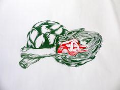 """Cœur d'Artichoke"" silkscreen on Behance by Nadia Fernandes"