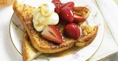 Start Valentine's day with this delicious French toast served with sweet strawberries.