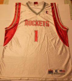 £3.99 NBA White Red 1 Tracy McGrady Houston Rockets Jersey Men's Jersey Used Shirt | eBay
