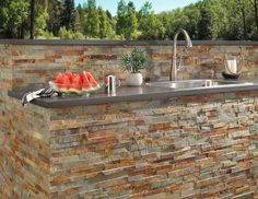 Ready To Install Shadow Gray Quartz Slab Includes Backsplash - 112 x 26 - 100224377 Modular Outdoor Kitchens, Outdoor Kitchen Design, Outdoor Rooms, Outdoor Living, Outdoor Decor, Backyard Kitchen, Outdoor Patios, Outdoor Projects, Backyard Patio Designs