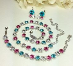 Swarovski Crystal Necklace - Designer Inspired - Light Turquoise, Rose, and Radiant Clear Crystal