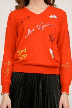Vintage Red Sweater V Neck Jumper Las Vegas by ShopTwitchVintage