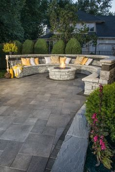 Rivercrest Wall, Wall, 2016, Firepit, Seat wall, Umbriano,