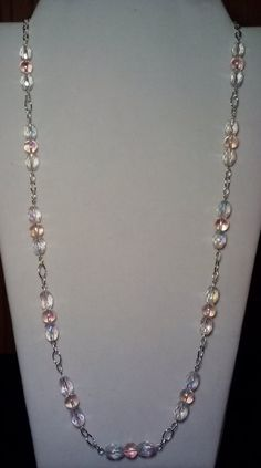 Handmade Beaded Necklace with Pink Aurora by KimsSimpleTreasures, $20.00