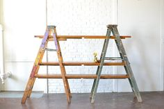 Ladder Shelving: Unique and rustic shelving option that's versatile for so many uses!  Vintage wooden ladders paired with handmade wooden shelves. Great for dessert displays and trade show booths. *Paisley & Jade Vintage & Specialty Furniture Rentals for Events, Weddings, Theatrical Productions & Photo Shoots*