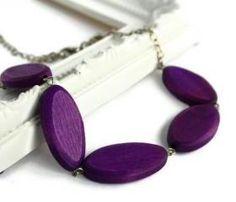 Purple chunky bead necklace. Oval wood beads.