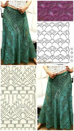 Crochet Skirt Pattern, Crochet Skirts, Crochet Motifs, Crochet Diagram, Crochet Stitches Patterns, Crochet Blouse, Crochet Clothes, Knitting Patterns, Sewing Patterns