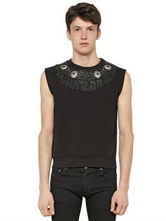 SAINT LAURENT SLEEVELESS EMBELLISHED COTTON SWEATSHIRT