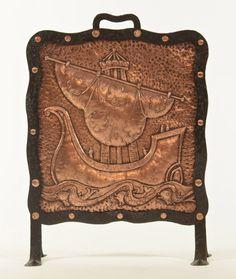 John Pearson (Active 1885-1910) - Fire Screen. Hammered Copper & Iron. Newlyn, Cornwall, England. Circa 1906.