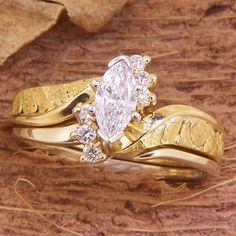 Women's Alaskan Gold Nugget and Marquise Diamond Wedding Ring. Style#: GRST129834Y - Gold Nugget Jewelry by Alaskan Gold Rush Fine Jewelry - Fairbanks, Alaska - 907-456-4991 - Call for price and availability.