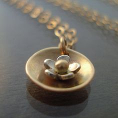 Tiny Nested Flower Blossom Necklace in 14k gold and silver by Lisa Hopkins Design
