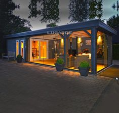 Lugarde Springfield 27 x 11 ft Summerhouse - With a large summerhouse and an even larger canopy area, the Springfield Summerhouse by Lugarde has - Backyard Office, Backyard House, Backyard Sheds, Backyard Patio Designs, Garden Office, Outdoor Office, Large Summer House, Summer House Garden, Parrilla Exterior