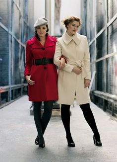 Winter Clothing Styles for Women   Evans Autumn/Winter 2006, Red coat £65/€99 Ivory coat £75/€114 ...