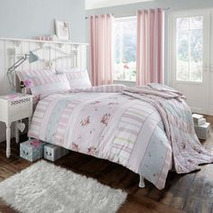 Catherine Lansfield Vintage Twin Pack of duvet covers - 2 reversible duvets which in effect gives you 4 designs. Pink Bedroom For Girls, Pink Bedrooms, Duvet Sets, Duvet Cover Sets, Cot Bed Duvet Cover, Childrens Beds, Bedroom Themes, Bedroom Ideas, Quilt Cover