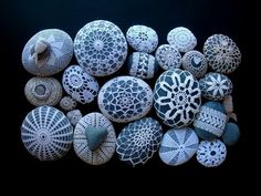 never thought of covering a rock with crochet, but would make great paperweights