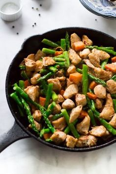 This asparagus sweet potato chicken skillet recipe is made with lots of veggies. This is a gluten-free, paleo and easy to make meal for dinner.