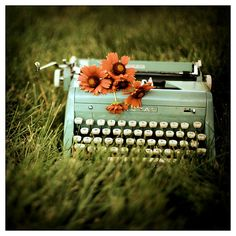 Vintage Typewriter  Flower Photograph  (Saw this framed at BB)