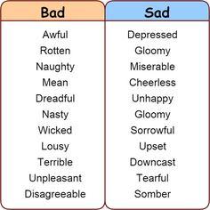 Other ways to say: Nice, Good, Bad, Sad, Happy, Pretty - learn English,vocabulary,communication,english