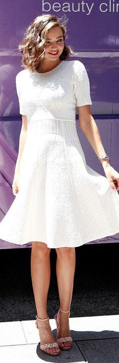 Who made  Miranda Kerr's white short sleeve dress?