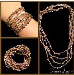 """Collar y/o brazalete tejido con cristal checo  En Facebook """"Tessie's Joyeria"""""""