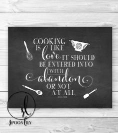Julia Child Kitchen Art, Kitchen Decor, Kitchen print, Kitchen Typography, Chalkboard kitchen Art, Kitchen utensils, Wall Decor Art Print on Etsy, $15.00