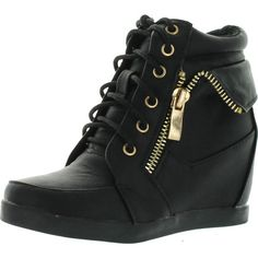 Lucky Top Girls Peter-30K Kids Fashion Leatherette Lace-Up High Top... ($35) ❤ liked on Polyvore featuring shoes, sneakers, black lace up shoes, high top sneakers, studded lace-up wedge sneakers, hi top wedge sneakers and wedged sneakers