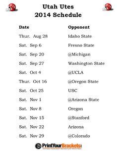Printable Utah Utes Football Schedule 2014