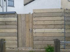 Scaffold board fence and gate (Beach Street car park, Herne Bay)
