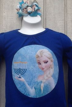 Frozen Hanukkah shirt and bow set frozen by myLilladybugboutique