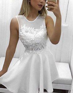 Simple White Mini Lace Round Neckline Graduation Dresses,