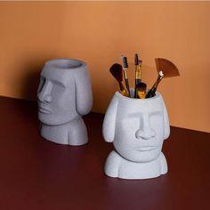 Easter Island, Retro Art, Pen Holders, Office Gifts, Storage Organization, Abstract, Stone, Organize, Desktop