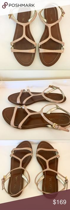 Prada Nude Patent Leather Flat Sandal Designer, Prada's nude patent leather flat sandal in Natural. Adjustable ankle closure slide on sandal perfect for any outfit. Comes with dustbag. Prada Shoes Sandals
