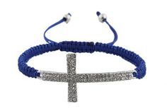 Blue Lace Style Iced Out Cross Bracelet with Beaded Disco Balls Macrame Shamballah JOTW. $1.95. 100% Satisfaction Guaranteed!. Great Quality Jewelry!