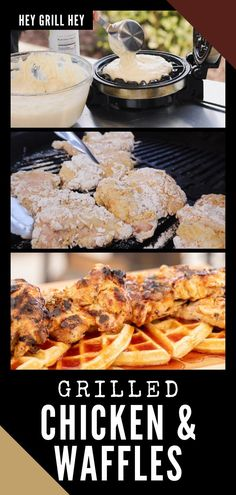 "These Grilled Chicken and Waffles are cooked over charcoal in the kettle grill, hence the name ""kettle fried chicken."" This will help you get an amazing, crispy coating with awesome smoky flavor. Bbq Recipes Sides, Best Bbq Recipes, Grilling Recipes, Grilled Chicken Sandwiches, Grilled Chicken Salad, Grilled Chicken Recipes, Bbq Food For A Crowd, Fried Chicken And Waffles, Grilled Lobster"