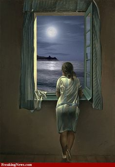 Girl Looking Out Window at Moon Painting Salvador Dali Paintings, Look At The Moon, Moon Painting, Classic Paintings, Moon Art, Painting Inspiration, Fantasy Art, Art Drawings, My Arts