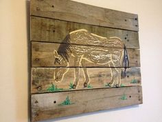 Wall Art on Wood,barn theme,Pallet art,Farm… Rustic Wall Art, Rustic Nursery, Wood Art, Farm Animal Nursery, Nursery Paintings, Rustic Crafts, Plank Walls, Pallet Art, Crafts To Make