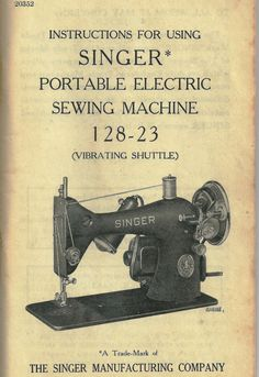 1948 singer sewing machine | ... & Care for Singer Portable Electric Sewing Machine. 1948 Revision