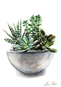 Green Succulent Cactus Arrangement  Giclee Print by LauraRowStudio
