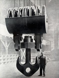 """scanzen: """" 300 tonnás daru óriás emelőkapcsa. (Maschinenfabrik Augsburg-Nürnberg.) In: Möller Károly: A mai technika. Királyi Magyar Egyetemi Nyomda, Budapest, 1942. Hook of the 300-ton overhead crane..."""