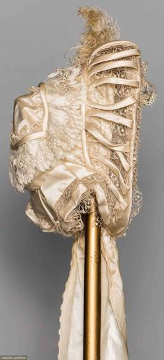 Bonnet (image 2) | 1850s | silk, tulle, bobbin lace, ostrich plume | Augusta Auctions | November 12, 2014/Lot 217
